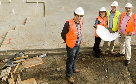 Checking out progress of the Spotted Cow redevelopment are (from left) pub general manager Phillip Coorey, Dianne Coorey, site foreman Ron Beer from Paynter Dixon and Michael Coorey.