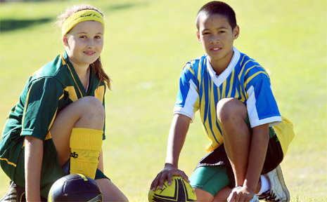 Young sport stars Madisson Wilson and Adrian Baker.