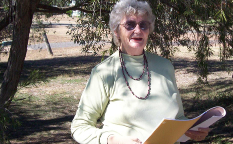 POET PATSY: Taroom poet Patsy Poole entertained visitors and locals with her poetry during the recent Taroom Tourist Week. Picture by JENNY NOBLE.