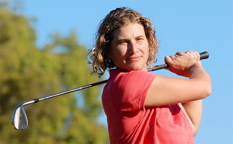 rachel Bycroft was in winning form in the Mackay Toyota women's open yesterday.
