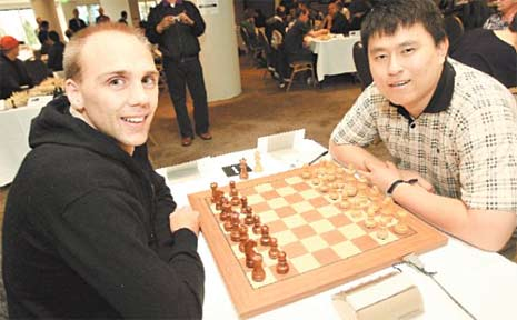 David Smerdon and Zong-Yuan Zhao test their skills at the Oceania World Chess Championship Qualifier being held at Twin Towns.