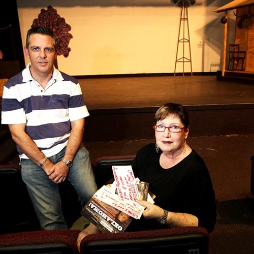 Front manager Denise Campbell and President Chris Mills in the empty theatre which has been forced to cancel the popular musical. Photo:Nicholas Falconer/183440