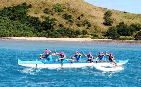 The Mooloolaba crew powers through the water off Hamilton Island.