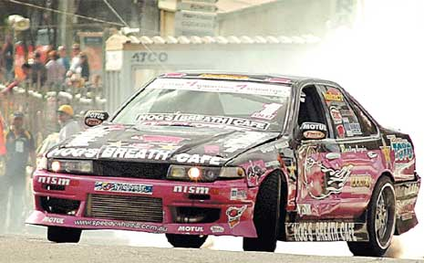 Dan Kenneally from Brisbane puts on a drifting show in his Nissan Cefiro.