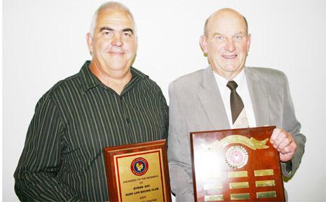 Byron Bay Surf Club president, Neil Cameron (left), with branch president, John Beasley.