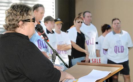 QCU assistant general secretary Amanda Richards addresses a rally protesting against assets sales.