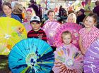 Handpainted brollies by family daycare children (from left) Shai Conway, Sahaila von Nida, Kyle Jenkins, Maddi Conway, Tekoa Dice, Bethany von Nida and Georgia McKenzie.
