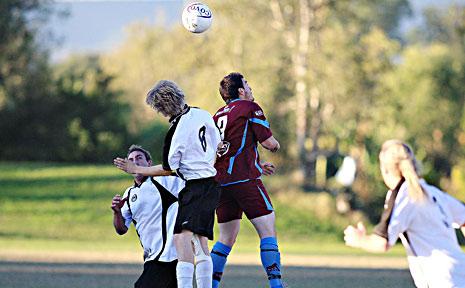 Tweed Heads' striker Aaron Maingay (right) in action.