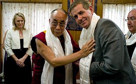 His Holiness, the Dalai Lama greets Sunshine Coast MP, Peter Slipper on a visit to the Dalai Lama's Indian base in Dharamsala.