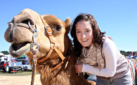 GETTING ACQUAINTED: Morgan Kelly and Tyson get to know each other at Farm Fantastic.