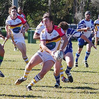 Jordon Vaughan sets up his support in last weekend's game against Beerwah. Photo: Linley Marshall