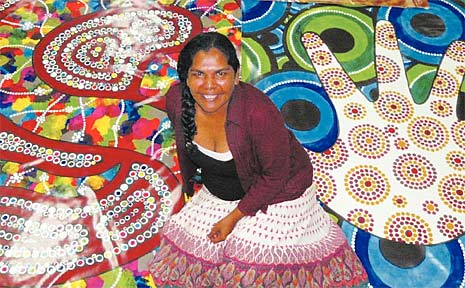 Three large banners created by artist Paula Bobongie are being displayed at Mackay City and Gordon White libraries during NAIDOC Week.