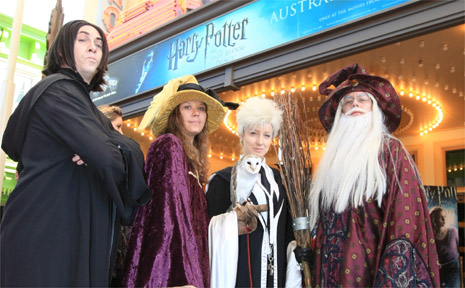 Actors portraying characters from the Harry Potter series at Movieworld.
