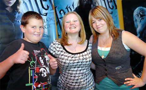 The latest Harry Potter film receives the thumbs up from Dylan Ireland, Kayla Jensen and Natasha Polley at Mt Pleasant Birch Carroll and Coyle cinema yesterday.