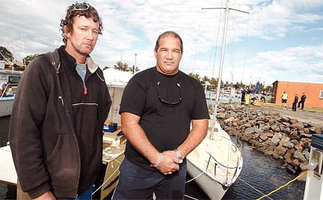 Darren Noltenius and Jon Timmermans took part in a dramatic rescue at Tweed Marina on Tuesday.