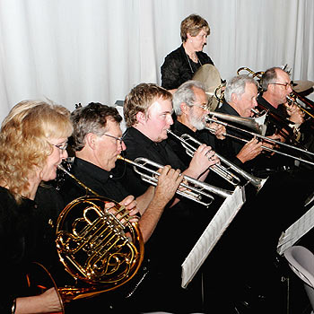 The Sunshine Coast Symphony Orchestra's brass section at Coolum last year. Photo: Mike Garry