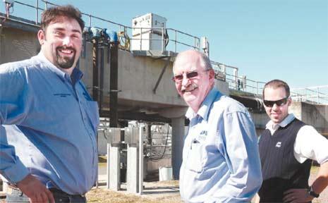 Mackay Regional Council staff, from left, project engineer Arthur Borosak, engineer Frank Frazer and website co-ordinator Cody Duschka at the award-winning water recycling plant.