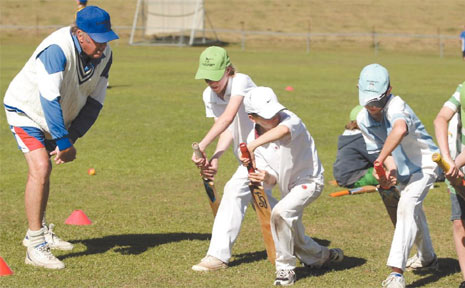 FOUR young hopefuls show off their best front-foot defence at the Bradman camp in Murwillumbah.