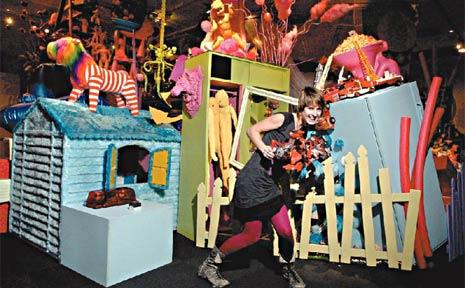 Rose Skinner with her artistic installation entitled: I Wish I Were in Wonderland.