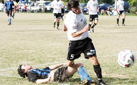 Action from the Byron Bay-Bangalow match, won 4-1 by a makeshift Byron Rams outfit.