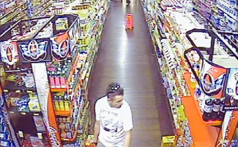 Footage of a man police want to speak to over credit card scams, taken from CCTV cameras at Spar supermarket in Murwillimbah.