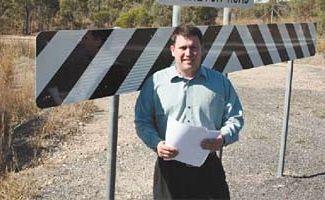 Cr Matt Burnett at an intersection in Gladstone.