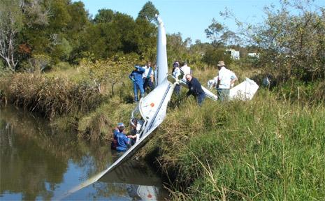 A glider which crashed near Tyagarah on Saturday.