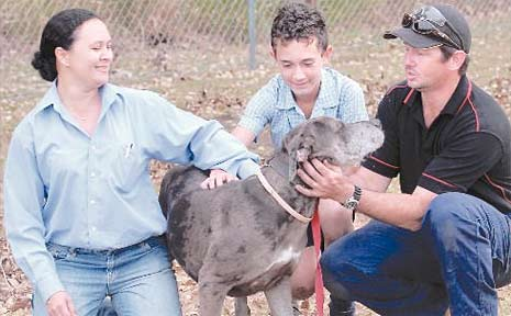 Gloria, Isaac and Brad Ritchings get to know their new family pet.