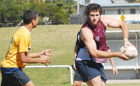 Daniel Matsen passes during a Mackay High training session.
