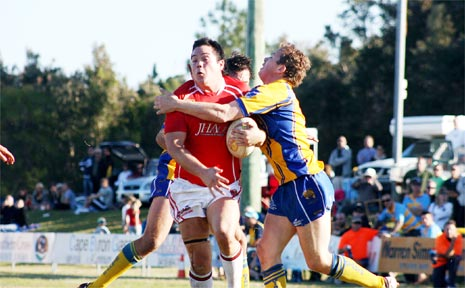 Some of the action in Sunday's local derby rugby league clash between Byron Bay and Mullumbimby at Red Devil Park. PHOTOS: Gary Chigwidden