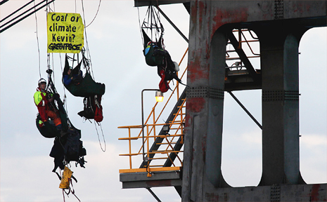 Greenpeace campaigners, the Fruitbat Four, dangled from the coal loader for more than 35 hours.