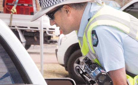 Sergeant Nigel Dalton, at the corner of Victoria and Lawson streets yesterday, was one of 13 police officers receiving laser training so he could help out during the crackdown on bad drivers.