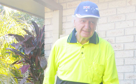 Richard Kidby of Mullumbimby, at almost 90 years of age, and showing you're never too old to give it a go, is ready to be part of the happy crowd walking 8.4 km to Brunswick Heads this Sunday morning.