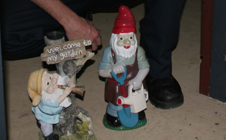 NO SMALL MATTER: Two gnomes arrestred for 'loitering' on the Washpool Street roundabout. They were really removed fo rpublic safety so not used as weapons to break into property.