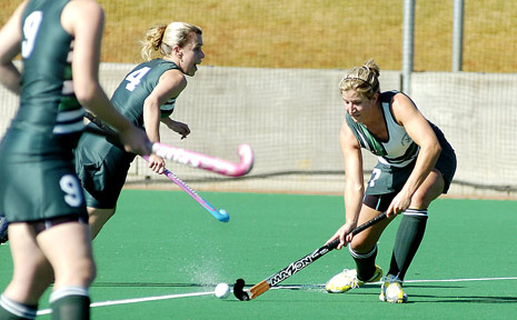 Glee's Kim Chappel prepares for a shot on goal against East Lismore on Saturday