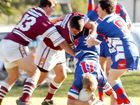 The Casino defence up-ends Kyogle's Cameron Reid at New Park, Kyogle, on Saturday.