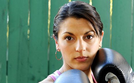 Olympic hopeful, female boxer Sabrina Ostowari.