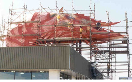 IT CAN BE MOVED: The Big Prawn, pictured under construction in 1990, can be moved according to the builders, Glenn Industries.