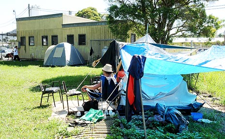 LIVING ROUGH: Homeless people set up camp outside the Lismore Soup Kitchen.