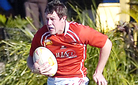 UP FOR THE CHALLENGE: A file picture of Brad Lees making a break for Byron Bay in the NRRRL this season. The fullback is hoping to play in the Queensland Cup next year.