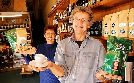 Caddies Coffee owner Bill Sheaffe, and mail-order co-ordinator Nita Primiano, with some of their business products.