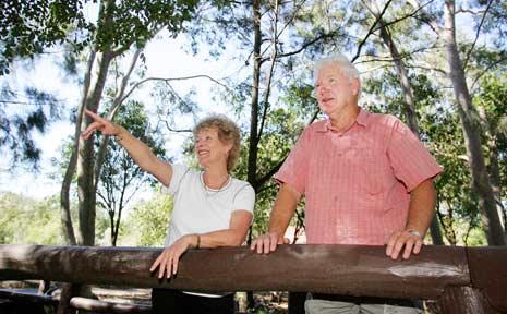 LOVELY SPOT: Brisbanites Ivan and Cheryl Harrison enjoy Rockhampton's Kershaw Gardens.