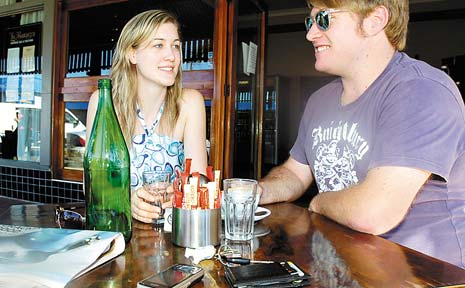 CLOSE CALLS: Anthony Brown of Goonellabah, with Toni Knapman of Lismore, keeps his phone close by when having a coffee.