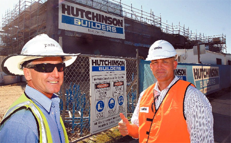 Danny Giles from PDC Developments (right) and site manager Mick Dodd Hutchinsons give the thumbs up to market interest in The Point Development at Hastings Point.