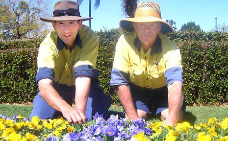 Removing early blooming flowers to ensure they bloom again for the Carnival of Flowers are gardeners Tim Rival and Denis Connolly.