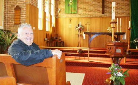 Father Gary Priest in St Paul's Anglican Church, Byron Bay. He will retire on August 30.
