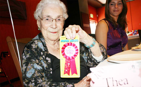 Thea Halliday celebrates her 100th birthday on Monday at the Byron Bay Services Club. Next to her is her great-great grandniece, Briar May, 20, who came from New Zealand for the celebrations.