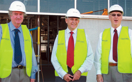 Professor Neal Ryan, Speaker John Mickel and Professor Bryan Rothwell inspect progress at the Campus.