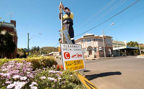 TURN OF SPEED: Kyogle Council workers put the finishing touches to a town program keen on welcoming thousands of Repco Rally visitors.
