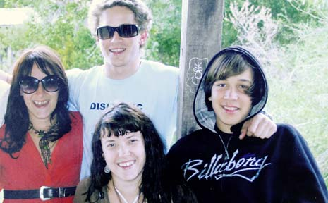 Jai Morcom (right) with his siblings Jade (left), 23, Mayo (rear), 21, and Kyra, 25